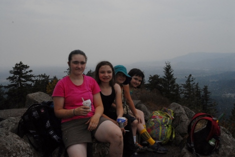 Kids on mountain summit